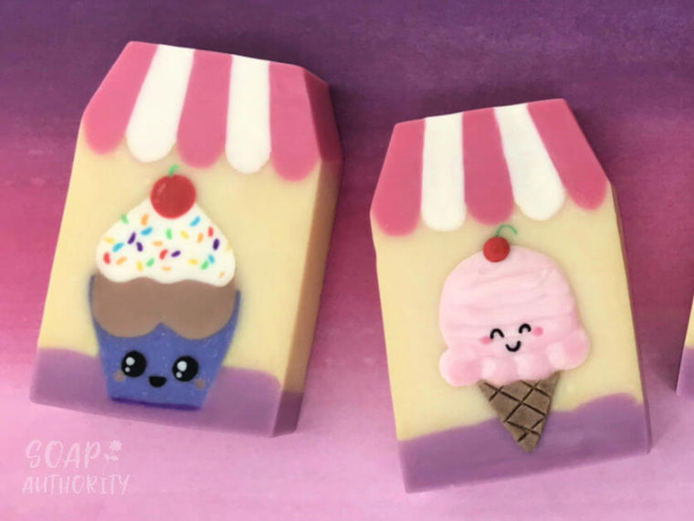 Kawaii Cupcakes Inlaid Soap - Soap Authority: Making detailed soap designs using embeds, soap carving and soap dough!